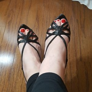 RARE VIA SPIGA Black Patent Leather Strappy Wedges
